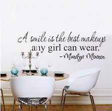 a smile is the best makeup marilyn monroe inspirational quote wall stickers girl 8129 home decor vinyl decal room mural art 4 0 in wall stickers from home  on marilyn monroe wall art quotes with a smile is the best makeup marilyn monroe inspirational quote wall