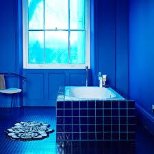 navy blue bathroom with rubber flooring
