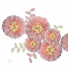 Pink Paper Flower Decorations Fonder Mols Pink Paper Flowers Decorations Tissue Paper Chrysanth Flowers Paper Leaves Diy Crafting For Wedding Backdrop Nursery Wall Decor R
