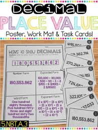 Decimal Place Value Practice Mat With Task Cards Anchor Chart