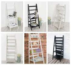 ladder book shelf bookcase stand free standing shelves storage unit in white gre