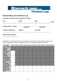 printable body building workout log exle
