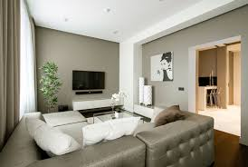 interior: Grey Tufted Sofa In Contemporary Apartment Living Room Idea Feat  White Cushion Accessories Plus