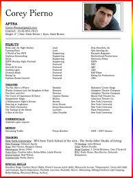 Examples Of Actors Resumes Actors Resume Barraques Org
