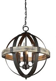4 light wood and metal sphere chandelier distressed wood and black