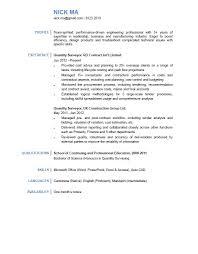 Resume Quantity Surveyor Resume