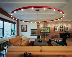 lighting for living rooms. round bulbs track lighting over living room brown leather modular sofa with rustic rectangular coffee table for rooms