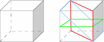 intersecting planes cube. cubes have many planes of symmetry. two are shown below to the right. intersecting cube e