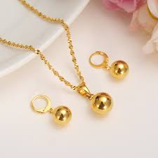 gold color bead jewelry sets round pendant chain
