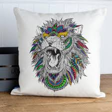 dels about lion head tattoo cushion er pillow pretty birthday gift him her kc53