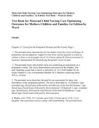 Perinatal Nurse Test Bank For Maternal Child Nursing Care Optimizing