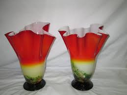 vintage stunning pair of art glass blown glass vases green to red encased glass white inside