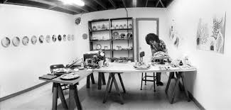 judy chicago painting in her china painting studio santa monica california photo courtesy through the flower archive the dinner party tdp ceramic studio