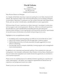 Sales Position Cover Letter Sample Cover Letter Of Sales Associate Sales Associate
