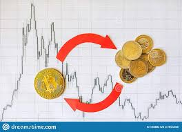 Exchange Of Virtual Money Bitcoin On Euro Coins Red Arrows
