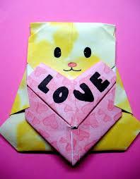 the fuzzy square diy origami valentine s day gift bear with heart valentine s day origami card valentine s day origami heart