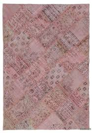 pink over dyed turkish patchwork rug 5 3 x 7 8 63 in x 92 in