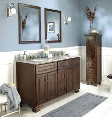 bathroom makeup vanity and sink ideas black finish stained plastering wall  dark brown varnished wooden cabinet