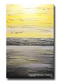 original art abstract painting yellow grey modern textured coastal wall decor contemporary urban horizon gold white