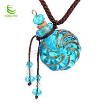 details about round gold dust oil ashes urn bottle cork blue glass pendant vial necklace new