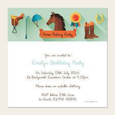 Birthday Invatations Personalised Kids Birthday Invitations Horse Riding Party