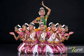 Dance Group Portrait Of Bharathanatyam Dancer With Multiple Poses