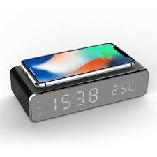 <b>Electric led</b> 12/24h alarm clock with phone wireless charger table ...