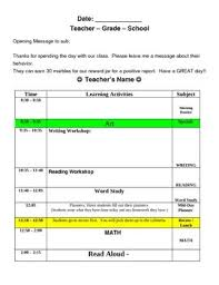 Elementry Lesson Plans Substitute Lesson Plan Template Easy Organized Teaching