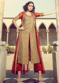 Punjabi Suit With Long Jacket Design Embroidered Beige Art Silk Pant Suit With Net Jacket