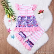 Pink Lotus Size Chart 2019 Baby Floral Printed Outfits Pink Lotus Leaf Horse Striped Short Sleeve Top Pants Two Piece Set Cute Baby Girl Clothes From Runkid Price