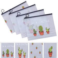 Demarkt Pencil Bag Creative <b>Cactus PVC Waterproof</b> Pencil Case ...