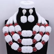 <b>New arrival</b> African Nigerian crystal beads wedding Party Necklace ...