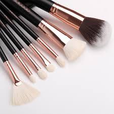 15 pcs rose gold brush set and brush cleaner