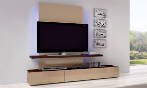Simple Family Room with Light Brown Wooden Shelves Console Wall Mount, Flat  Screen Tv Monitor Floating Wall Mount, and Wooden Console Cabinet Furniture  ...