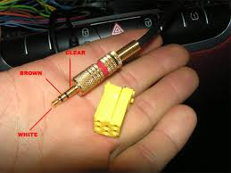 save the jack aux in smart car forums there is three wires white brown and clear now all you need is to er wires to the new plug