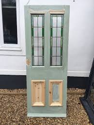 smaller victorian stained glass front door wooden reclaimed period old leaded