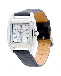 wams women s perfect square black leather watch previous next