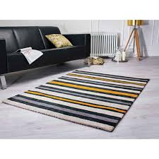 tribeca cotton stripe black gold rug by flair rugs