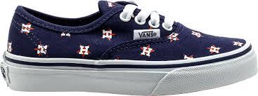 vans authentic. x mlb collection vans authentic houston astros preschool skateboarding shoe (navy blue)