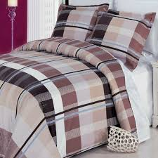 details about 3 piece king size 100 egyptian cotton striped plaid duvet cover set beige brown