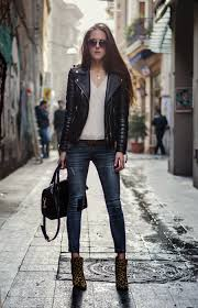 streetstyle leather jacket outfit fashion blogger 2016 denim skinny jeans outfit