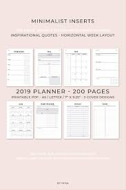 2019 Planner Printable Horizontal Layout Weekly Planner Monthly Planner Kikki K Filofax A5 And Happy Planner Inserts 2019 Agenda