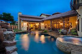 pool patio decorating ideas. Pool Patio Decorating Ideas Mediterranean With Stone Waterfall Outdoor Lighting