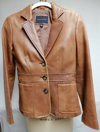 banana republic womens ery soft brown leather lined jacket blazer size 0
