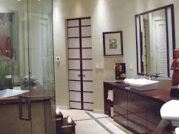 Bathroom:Adorable Japanese Asian Bathroom Design With Clear Glass Shower  Door And Wooden Vanity Cabinet