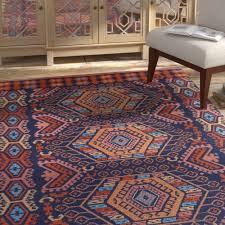 bloomsbury market keeter handmade poppy red navy blue indoor outdoor area rug blms4494