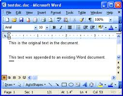 micresoft word office space appending text to a microsoft word document