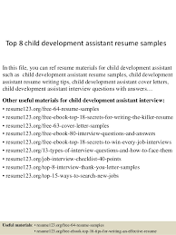 Samples 8 Assistant Development Resume Top Child