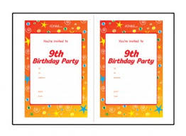 Birthday Party Invitation Templates For 9 Year Old 9th Birthday Ichild