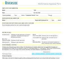 Performance Evaluation Form Template Hotel Employee Performance